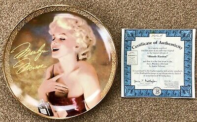 Marilyn Monroe Collector Plate 'Blonde Passion' Bradford Exchange +Cert Of Authy