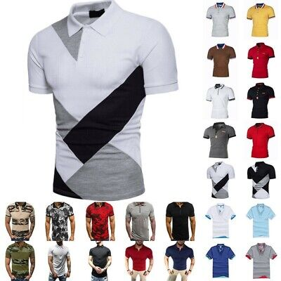 UK Mens Polo Shirts Summer Short Sleeve Slim Fit T-Shirt Golf Sports Casual Tops