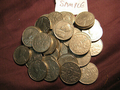 Canada Collection Of 40 Random King George V Era(1922-1936) 5 Cent Coins.