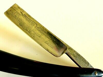 "Antique German Imperial ""Improved Eagle""  ¾"" Straight Razor. Ornate Etched Blade"