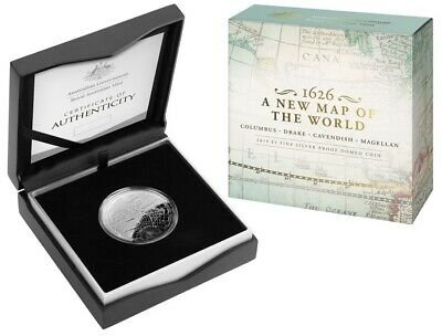 Australia: 2019 $5 A New Map of the World/ 1626 Columbus Silver Domed Proof
