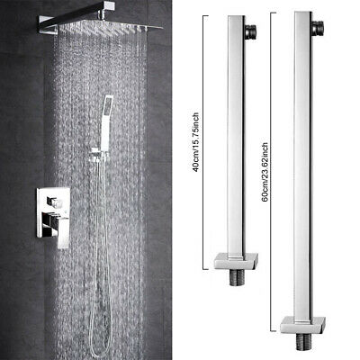 """24"""" Square Chrome Wall Mounted Shower Extension Arm For Rain Shower Head 60cm US"""