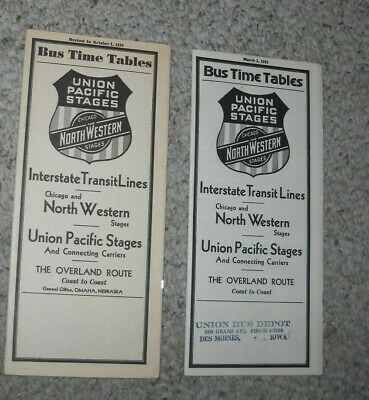 Union Pacific Stages Bus Lines Timetables (2) 1930's