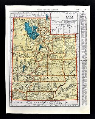 1938 McNally Map Utah Great Salt Lake City Ogden Provo Logan Moab Nephi Heber UT