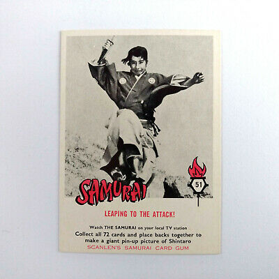 1964 Scanlens Samurai Card Gum THE SAMURAI CARD #51 Shintaro Scanlen's