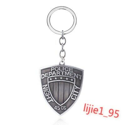 Cyberpunk 2077 Night City Police Department Shield Alloy Key Chains Keychain