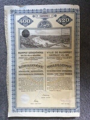 Budapest 4% 1911 With Coupons   INVALID SHARE CERTIFICATE