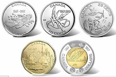 150th Anniversary Birth of Canada 2017 Complete Non Coloured 5 Coins Mint Set.