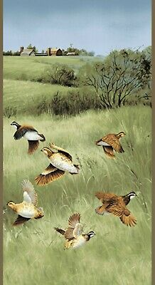 Quail Wildlife Wall Quilt Panel Fabric 100% Cotton Andover Hunting birds