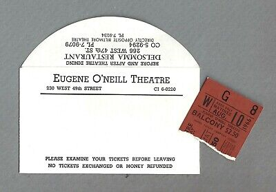 "Walter Matthau ""THE ODD COUPLE"" Art Carney / Neil Simon 1966 Ticket Stub"