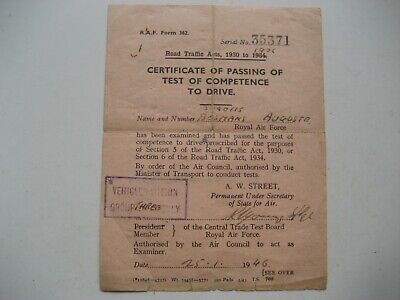Certificate of passing of test of comptence to drive. RAF 1946