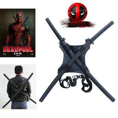 New Twin Deadpool  Movie Swords with back Harness
