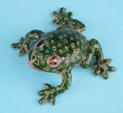 Retro Chinese Cloisonne Enamel Statue Animal Frog Mascot Old Hand-Made Crafts