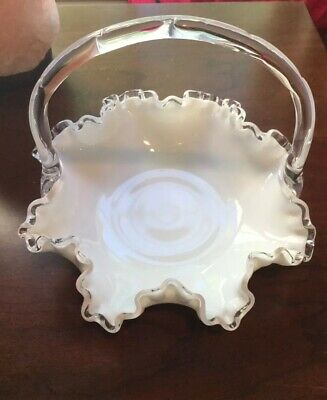 Vintage FENTON ART GLASS #7437 SILVER CREST WHITE MILK BASKET (PRE '71 NO MARK)