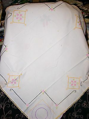 """""""""""Embroidered And Hand Crocheted Hem - Small, Vintage, Tablecloth"""""""""""