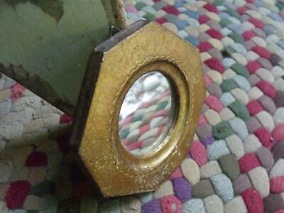 Sweet Small Italian Florentine Wood Wall Mirror Shabby Gold Made in Italy