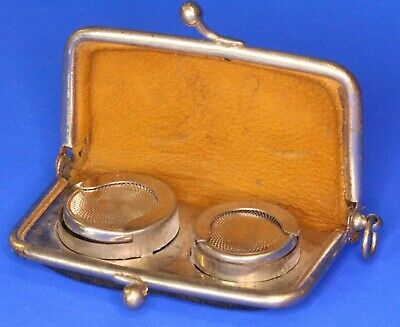 Antique Black Leather Double Sovereign / Coin Purse / Wallet / Holder *[16877]