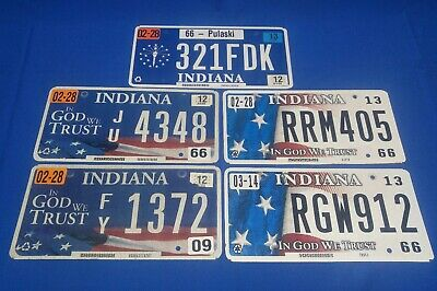 Lot of 5 Indiana License Plates Pulaski County 66 In God We Trust Aluminum