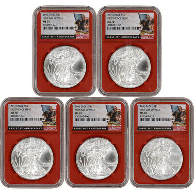 LOT of 5 - 2016 American Silver Eagle - NGC MS70 First Day of Issue Red Core