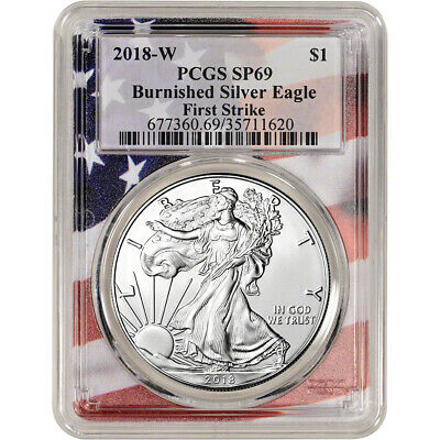 2018-W American Silver Eagle Burnished - PCGS SP69 - First Strike - Flag Core