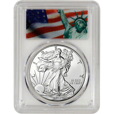 2018 American Silver Eagle - PCGS MS70 - First Strike Liberty Action View Label