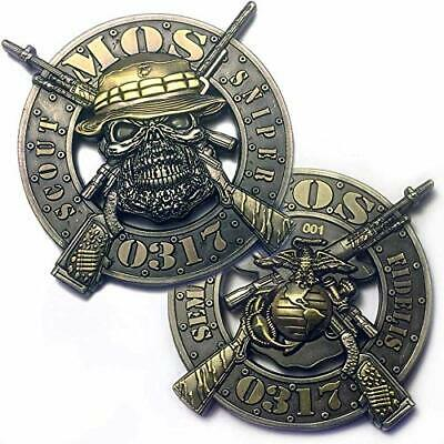 "Marine Corps Mos-0317  Scout Sniper 3D 2"" Challenge Coin"