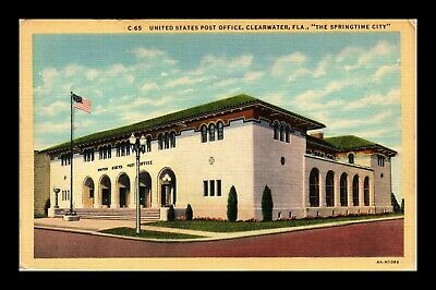 Dr Jim Stamps Us Post Office Clearwater Florida Linen Colortone Postcard