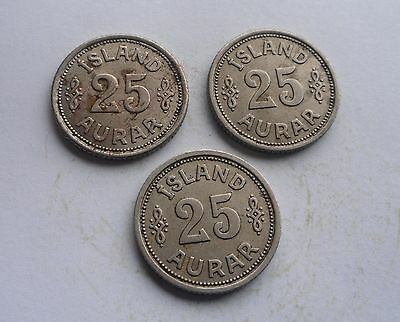 Iceland, 3 - 25 Aurar, all 1940 in Great Condition.