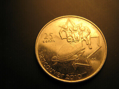 Canada 2008 Vancouver 2010 Olympics Bob Sled 25 Cent Mint Coin.