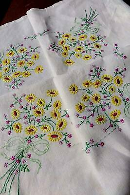 Vintage white Irish linen hand embroidered tablecloth  - Yellow Daisies
