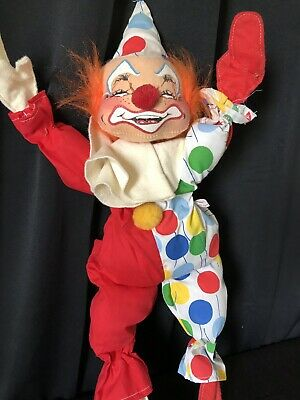 "VINTAGE 1971 ANNALEE MOBILITEE POSABLE CLOWN DOLL 19"" Colorful Fabric"
