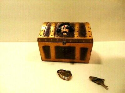 older metal Pirate's Treasure Chest bank;  E.J. Kahn Co., Chicago