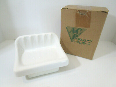 Vintage Retro Bone Gloss Ceramic Wall Mount Soap Dish Tray Holder Porcelain NOS