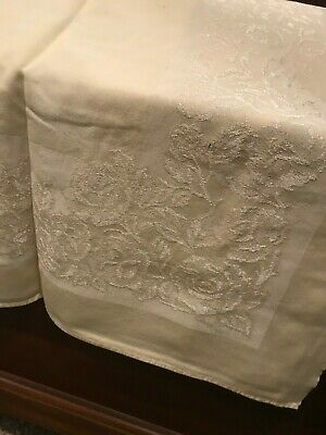 """Vintage Damask Tablecloth Pale Yellow Floral 88"""" x 52 1/2"""""""