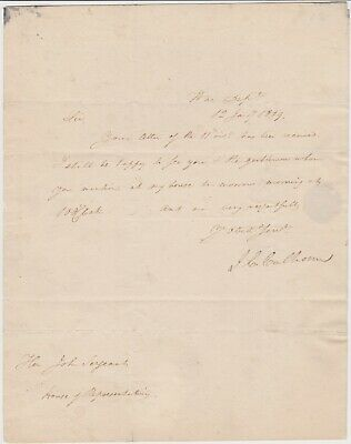 John C. Calhoun 1819 Autograph Letter Signed As Secretary Of War - Jackson's Vp