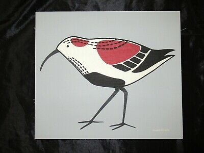 "MARUSHKA BEACH SEA BIRD VTG MID-CENTURY SILK SCREEN FABRIC ART PRINT 16""x14"""