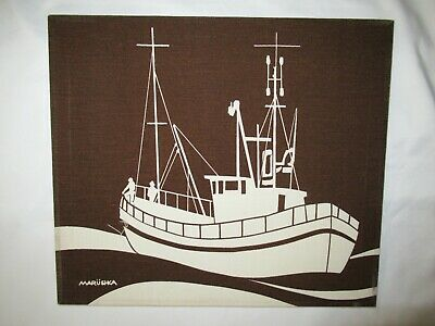 "MARUSHKA ship boat VTG MID-CENTURY SILK SCREEN FABRIC ART PRINT 16""x 14"""