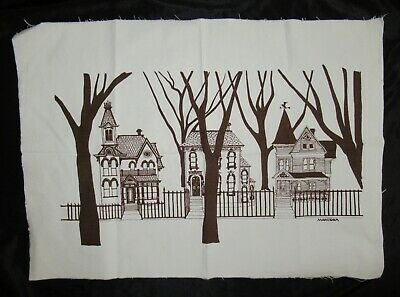 "MARUSHKA houses VTG MID-CENTURY SILK SCREEN FABRIC ART PRINT 26""x 13"""