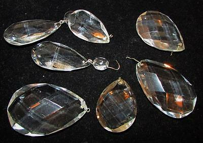 """Lot of 7 Vintage Crystal Almond Teardrop Prisms - Sizes 2"""" - 3"""" with Pins"""