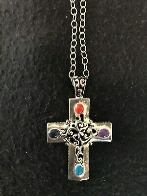 Silver Cross Necklace With Turquoise And Coral Stone Insets