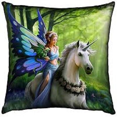 REALM OF ENCHANTMENT Anne Stokes Fairy Unicorn Mythical Creatures Cushion Pillow