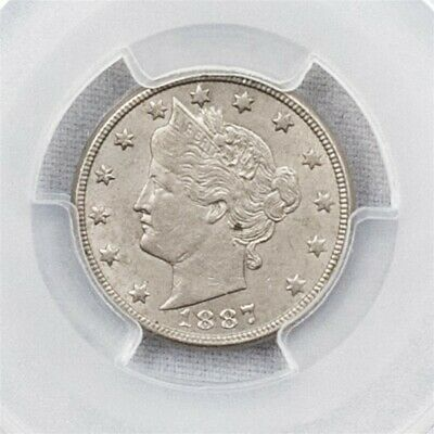 "1887 Liberty ""V"" Nickel - PCGS AU55 - Certified About UNC - 5c CuNi"