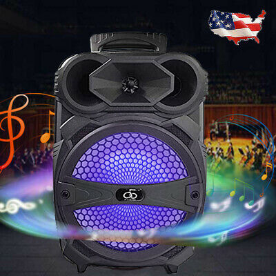 """8"""" BT Party Speaker System Bluetooth Big Led Portable Stereo Tailgate Loud 1000W"""