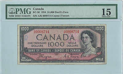 Bank Of Canada 1954 Complete Set $1 Through $1000  Devils Face