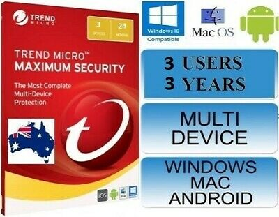 Trend Micro Maximum Security 15 (2019) Licence 3 Devices 36 Months