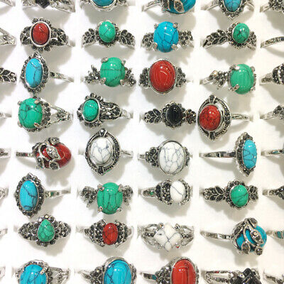 100X Ancient Silver Alloy Rhinestone Natural Turquoise Gemstone Mixed Ring Style