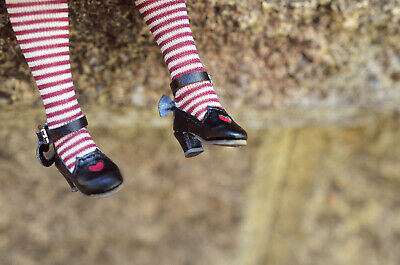 Blythe / AZONE Pure Neemo sized 1/6 doll shoes - black cat style with red heart