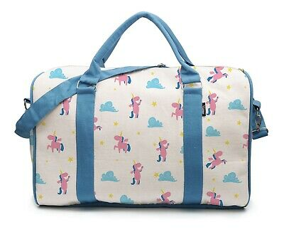 Canvas Duffle Luggage Travel Bag Printed Lovely Pink Unicorns and Clouds WAS_42