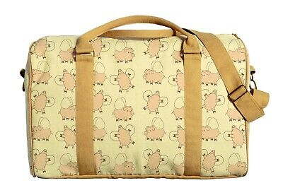Canvas Duffle Luggage Travel Bag Printed Lovely Pink Flying Pigs Pattern WAS_42