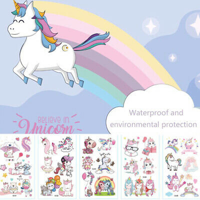 10X Cartoon Unicorn Tattoo Waterproof Temporary Tattoo For Kid Body Art Stickers